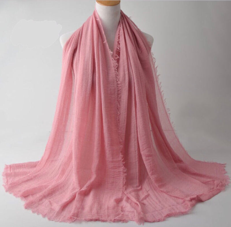 Pink Pleated Cotton Scarf (2251701878841)