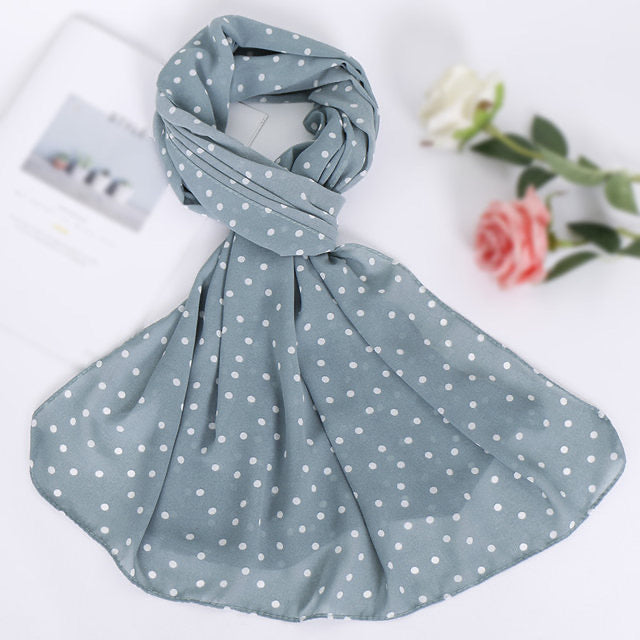 Mint Blue Polka Dot Chiffon Bubble Scarf (4624033316921)