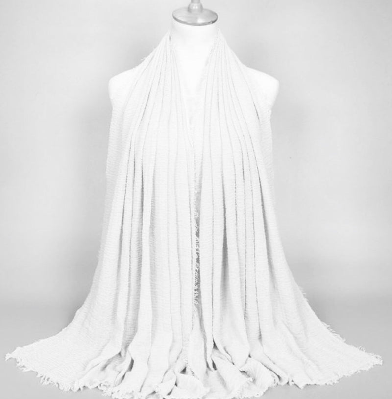 White Pleated Cotton Scarf (1482102702137)