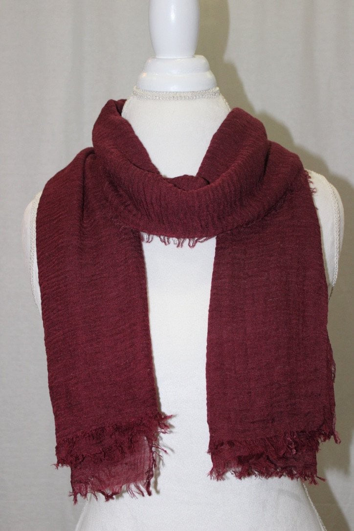 Maroon Pleated Cotton Scarf (10872829454)