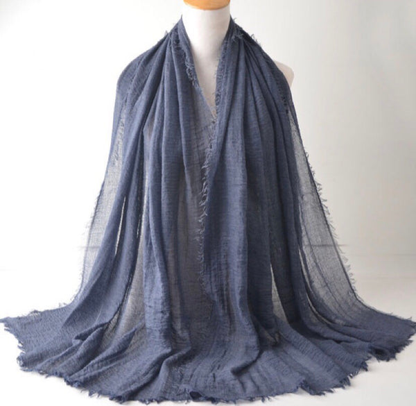Blue Gray Pleated Cotton Scarf (2245329977401)