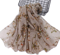 Tan Floral Cotton Scarf (2336367476793)