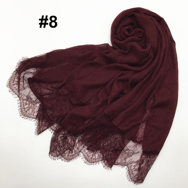 Maroon Lace Cotton Scarf (9987699470)