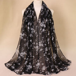 Black Floral Cotton Scarf (2245513674809)