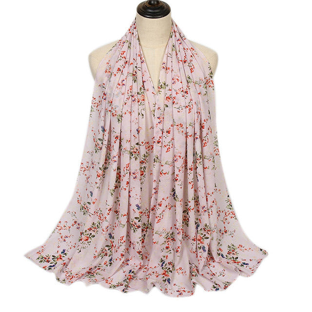 Light Pink Floral Bubble Chiffon Scarf (4654567489593)