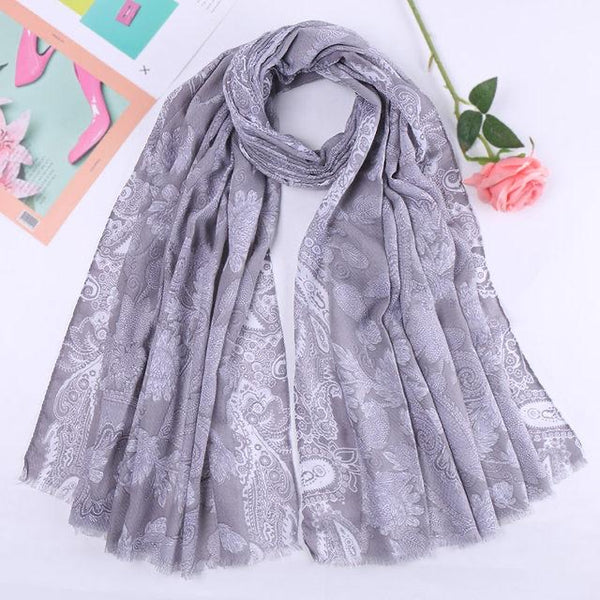 Gray Floral Cotton Scarf