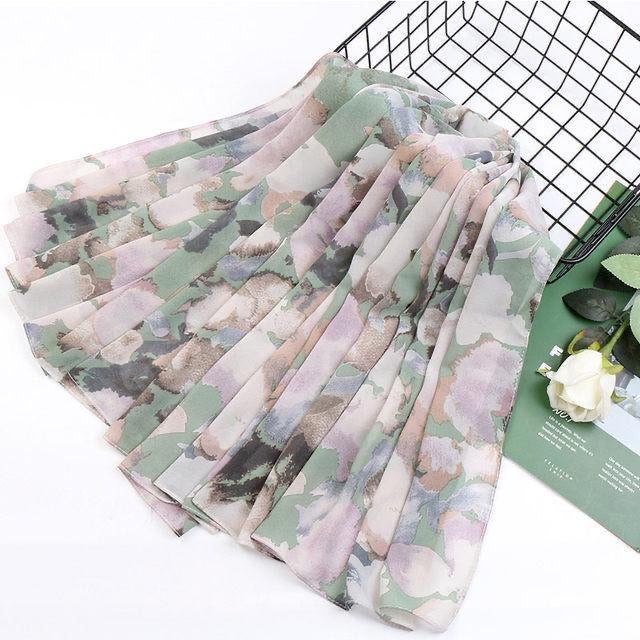 White floral chiffon square scarf