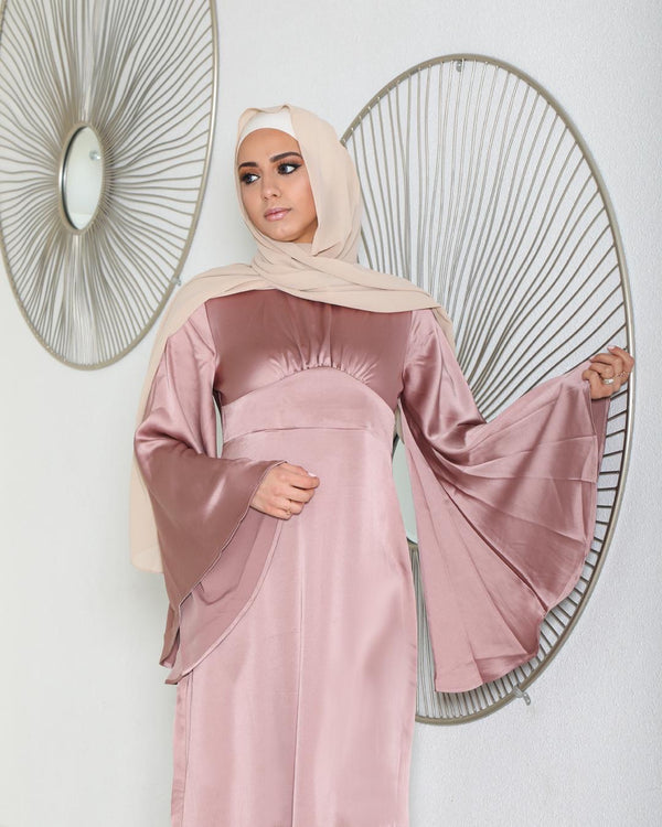 LaMeera Drape Sleeves Satin Dress - Dusty Rose