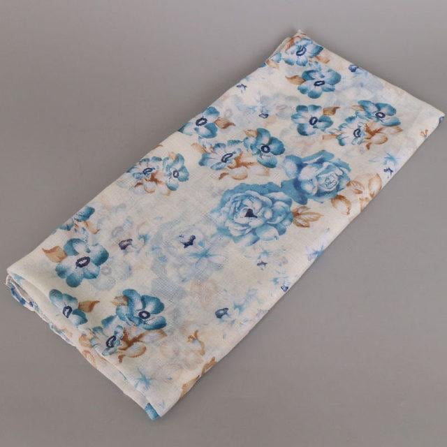 Ivory Floral Cotton Scarf