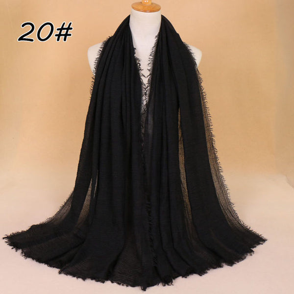 Black Pleated Cotton Scarf (10872796110)