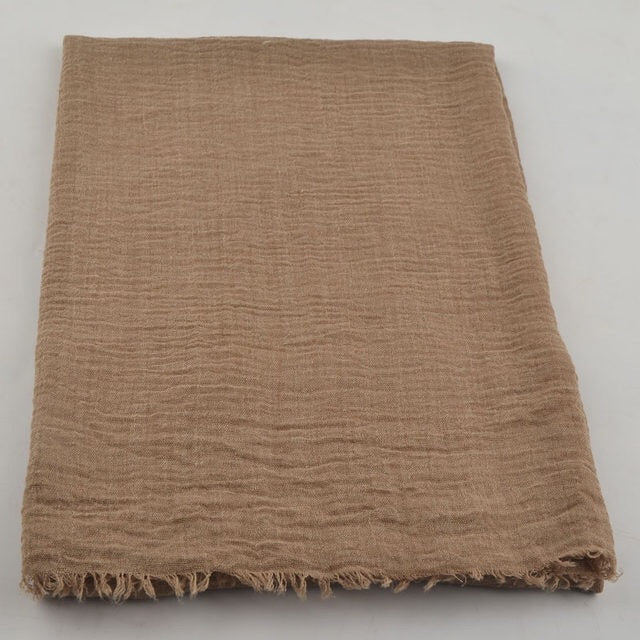 Light Brown Pleated Cotton Scarf (2245103943737)