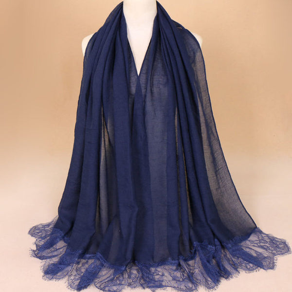 Navy Blue Cotton Lace Scarf (10360519054)