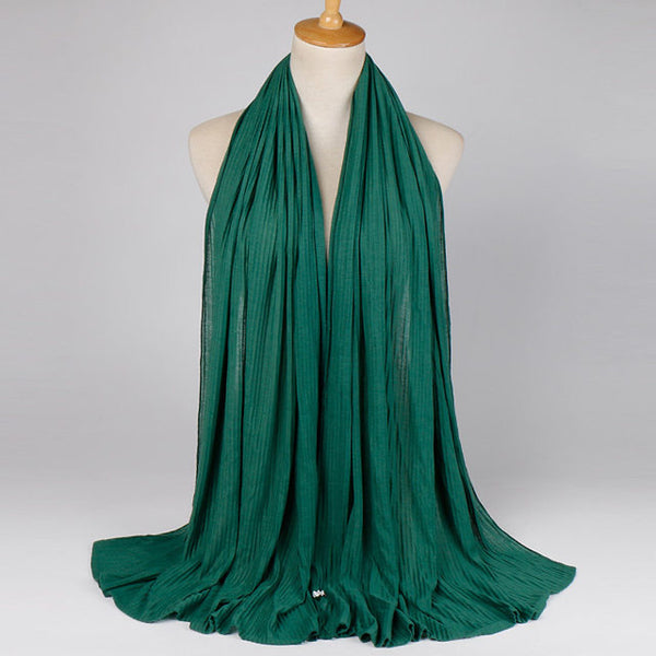 Hunter Green Crinkled Jersey Cotton Scarf (4624109895737)
