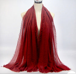 Red Pleated Cotton Scarf (1488938172473)