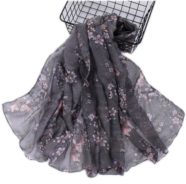 Gray Floral Cotton Scarf (2336371572793)
