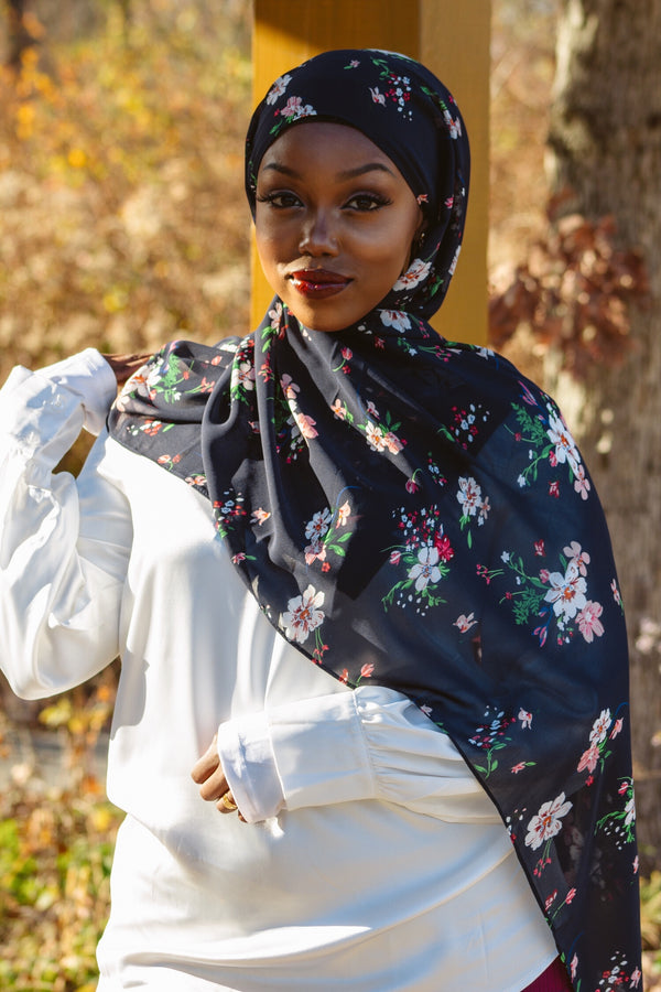 Navy Floral Chiffon Bubble Scarf