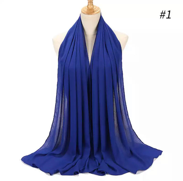 Royal blue crepe chiffon scarf