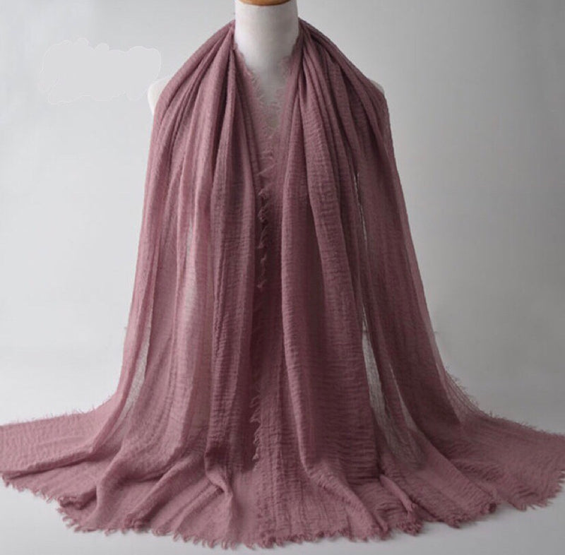 Rose Pink Pleated Cotton Scarf (2245153390649)
