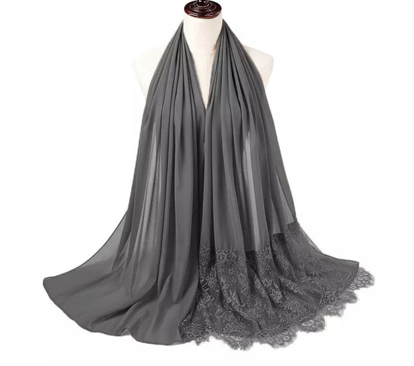 Dark Gray Lace Chiffon Scarf