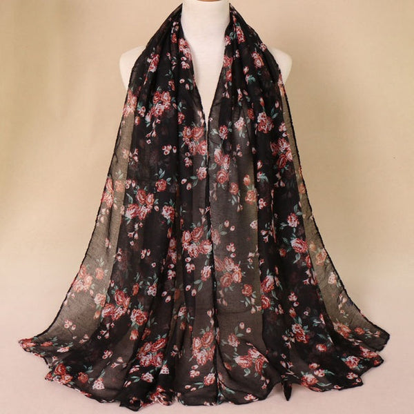 Black Floral Cotton Scarf (2178922381369)
