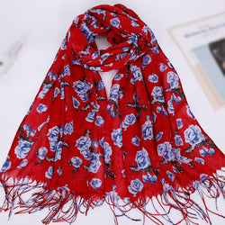 Red Floral Cotton Scarf (2176660832313)