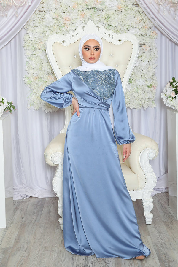 Ayla VIP Luxury Lace Satin Dress- Sky