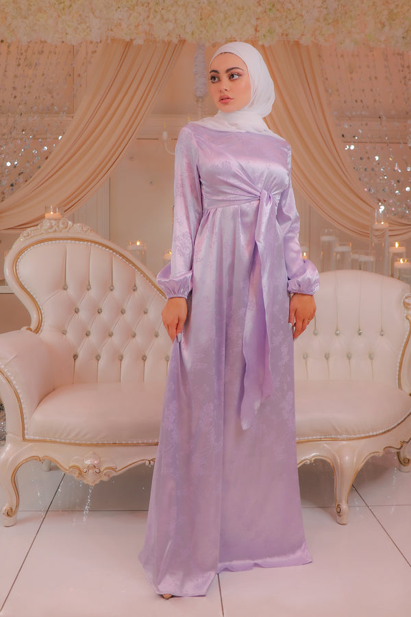 Dahlia Satin Tie Wrap Dress - Lilac