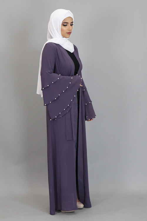 Dark Lavender Chiffon Pearls Abaya Cardigan Dress