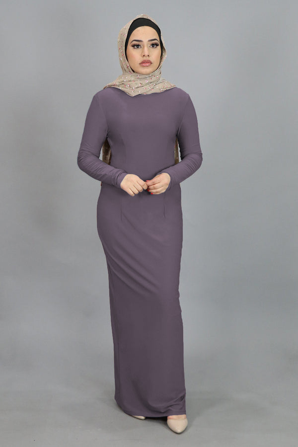 Lavender Plain Fitted Spandex Maxi Dress