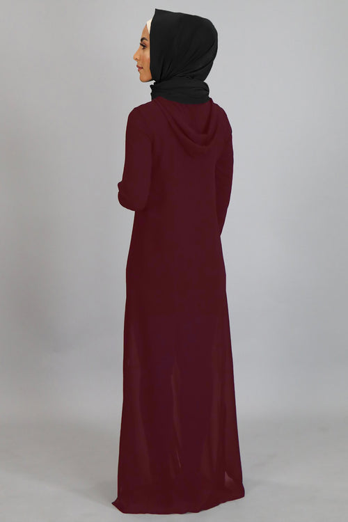 Mahogany Chiffon Hooded Abaya Buttoned-Down Cardigan Dress