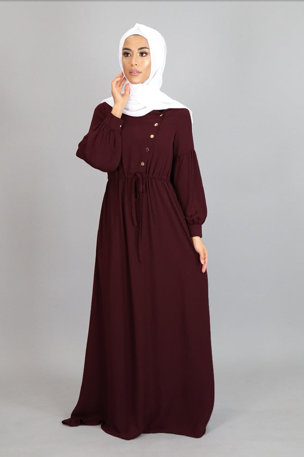 Burgundy Soft Gold Button Maxi Dress