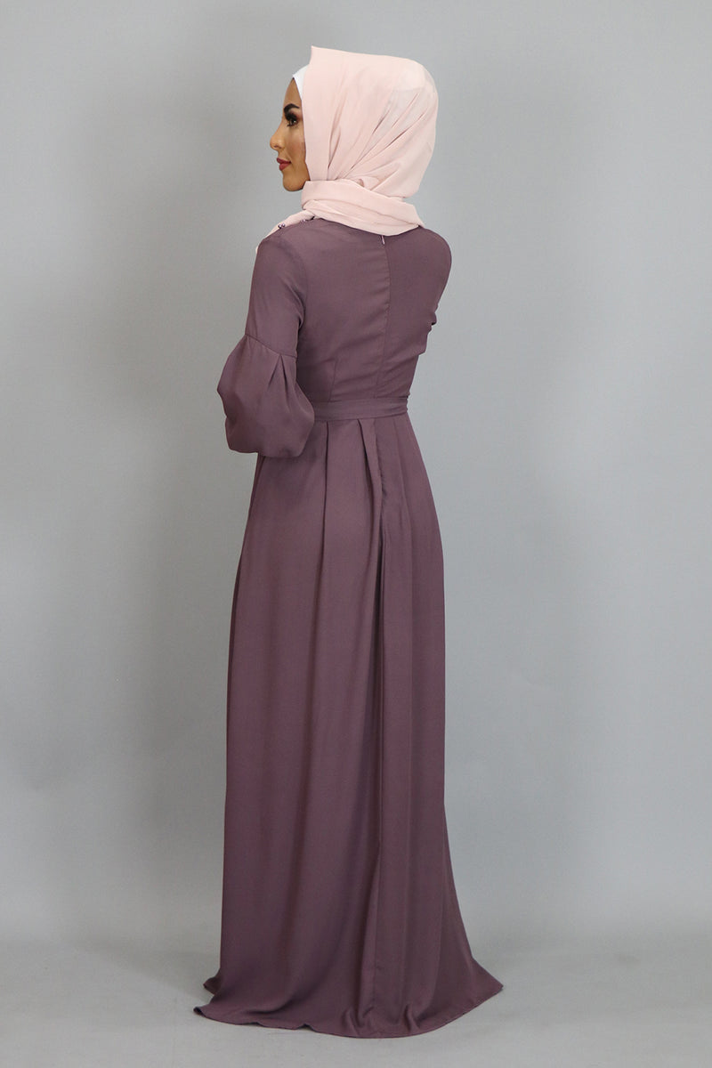 Mauve Pearls Chiffon Maxi Dress (2381799391289)