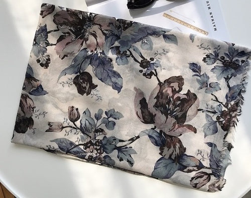 Gray Shine Floral Cotton Scarf