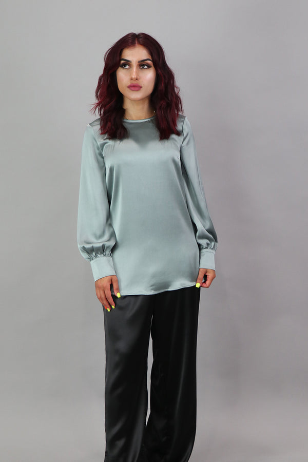 Lameera Satin Blouse - Mint Gray