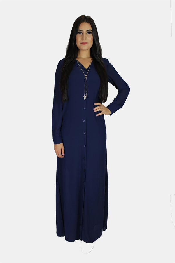 Navy Blue Chiffon Abaya Buttoned-Down Cardigan Dress (11270087566)