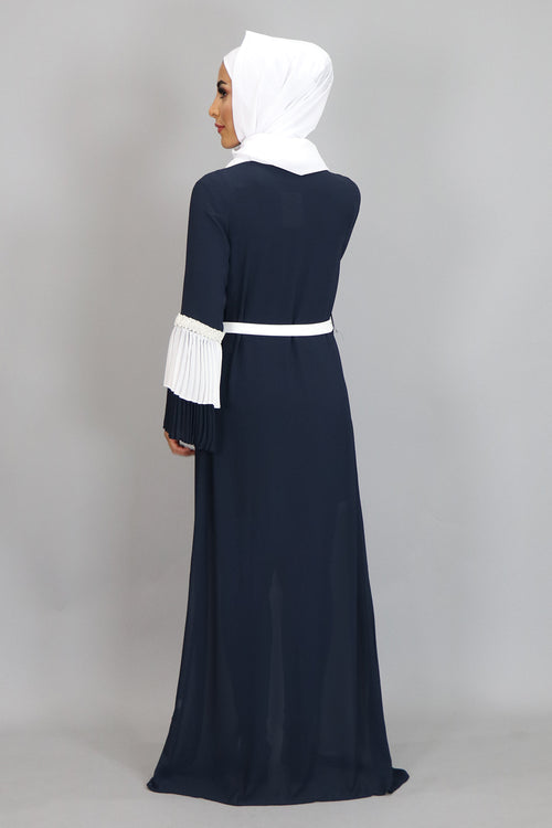 Navy Blue Chiffon Double Bell Cardigan Dress