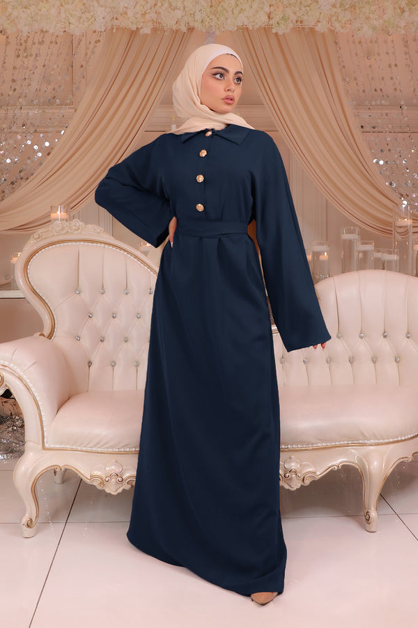 Deluxe Soft Batwing Dress- Navy Blue