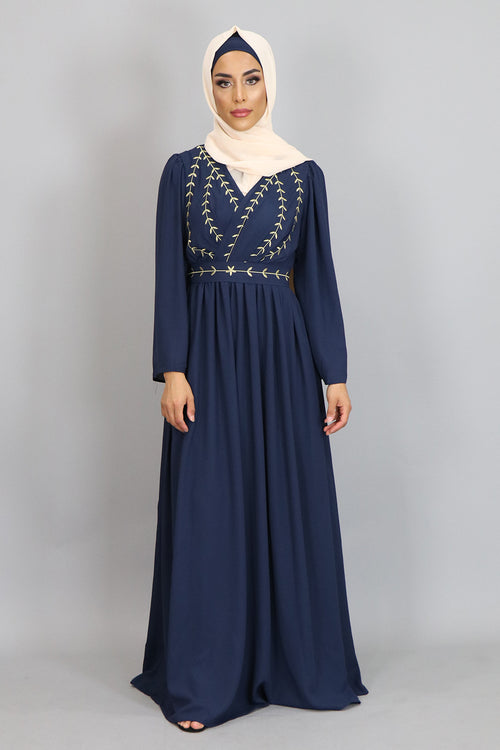 Navy Blue Embroidery Folds Maxi Dress