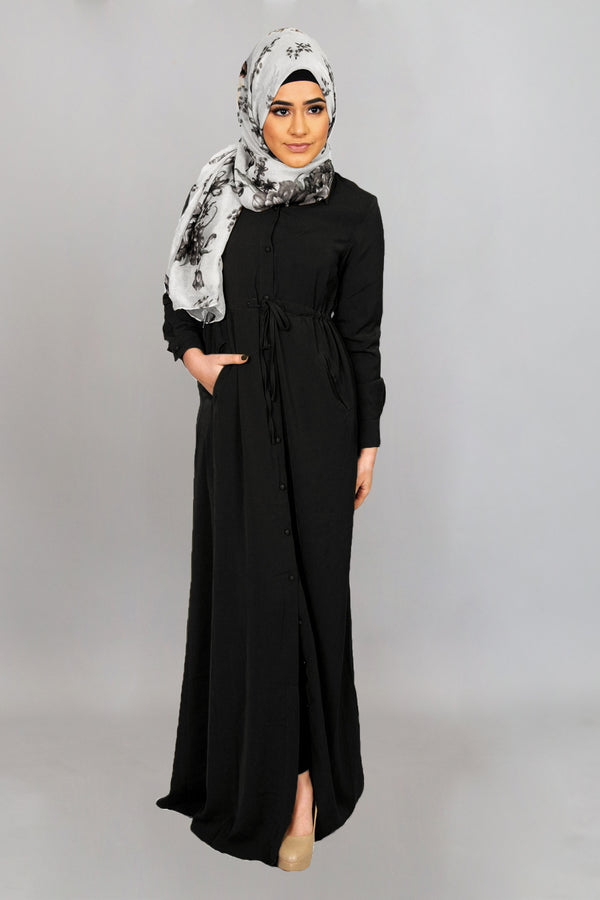Black Soft Buttoned-Down Maxi Dress (4644843814969)