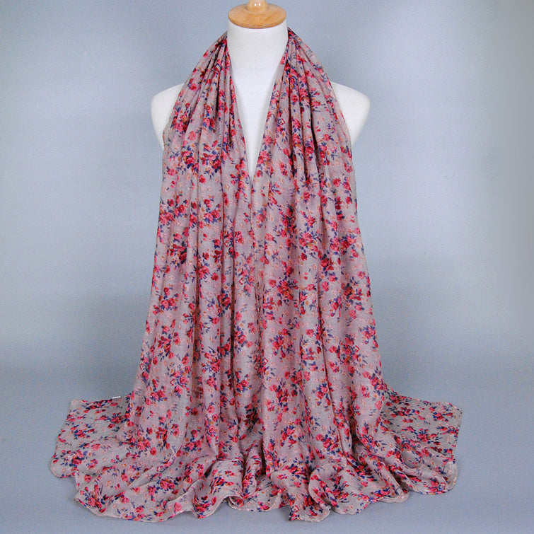 Pink Floral Cotton Scarf (923279818809)