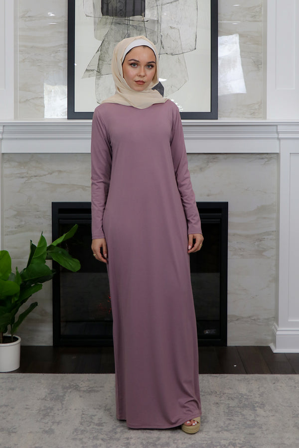 Sheath Spandex Maxi Dress - Dusty Lilac