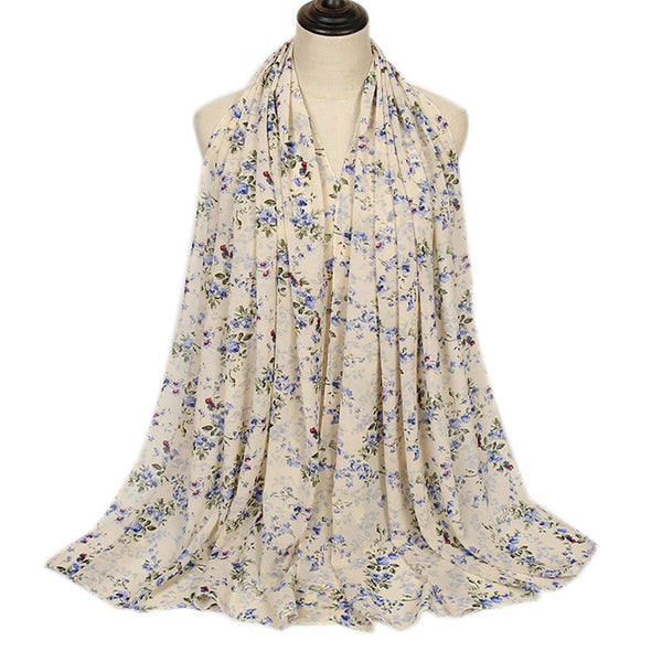 Off White Floral Bubble Chiffon Scarf (4654566113337)