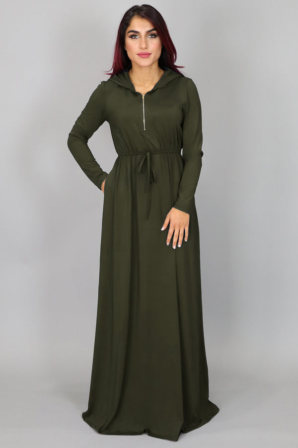 Olive Green Alexa Zipper Maxi Dress (2453365162041)