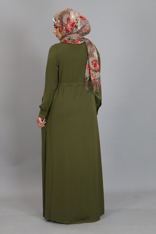 Olive Green Zipper-Down Maxi Dress