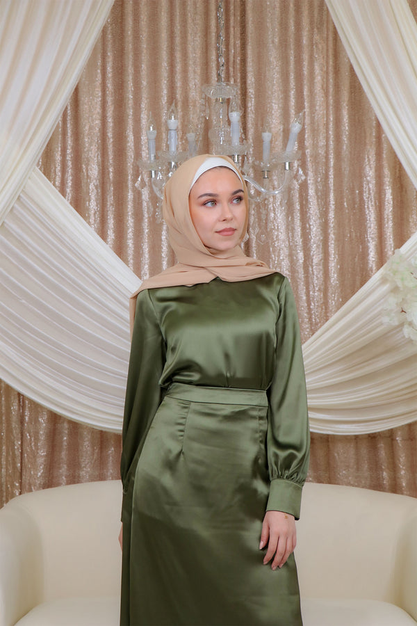Lameera Satin Blouse - Sage Green