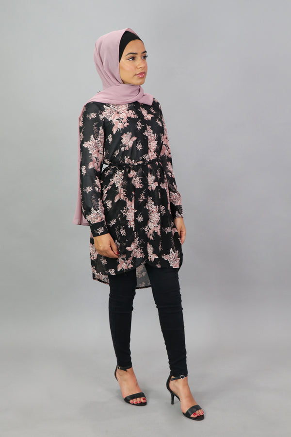 Black & Pink Floral Long Blouse