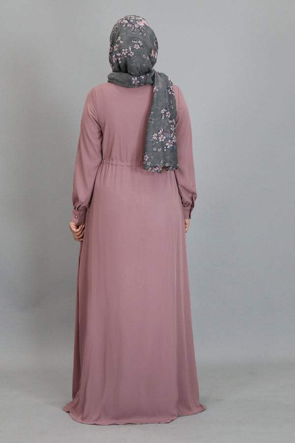 Rose Pink Chiffon Buttoned-Down Maxi Dress (2361405472825)