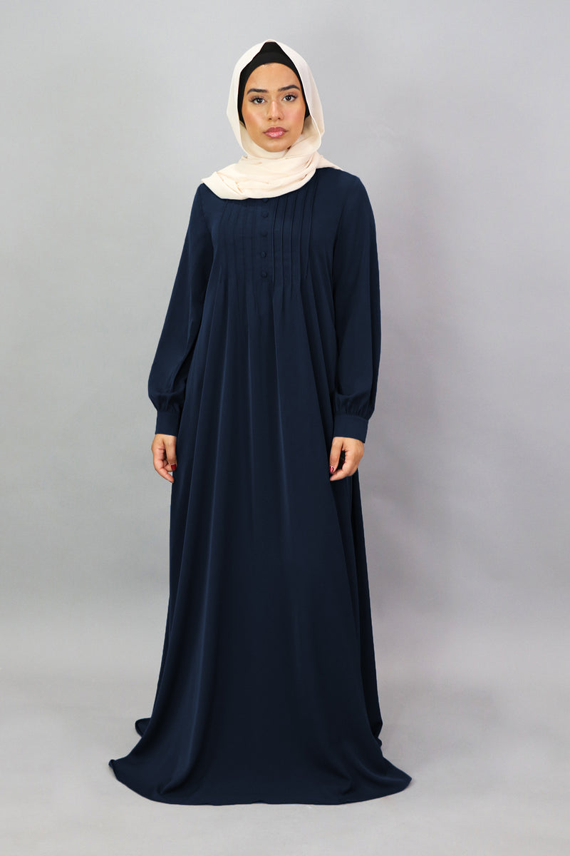 Navy Blue Deluxe Soft Maxi Pleated Abaya