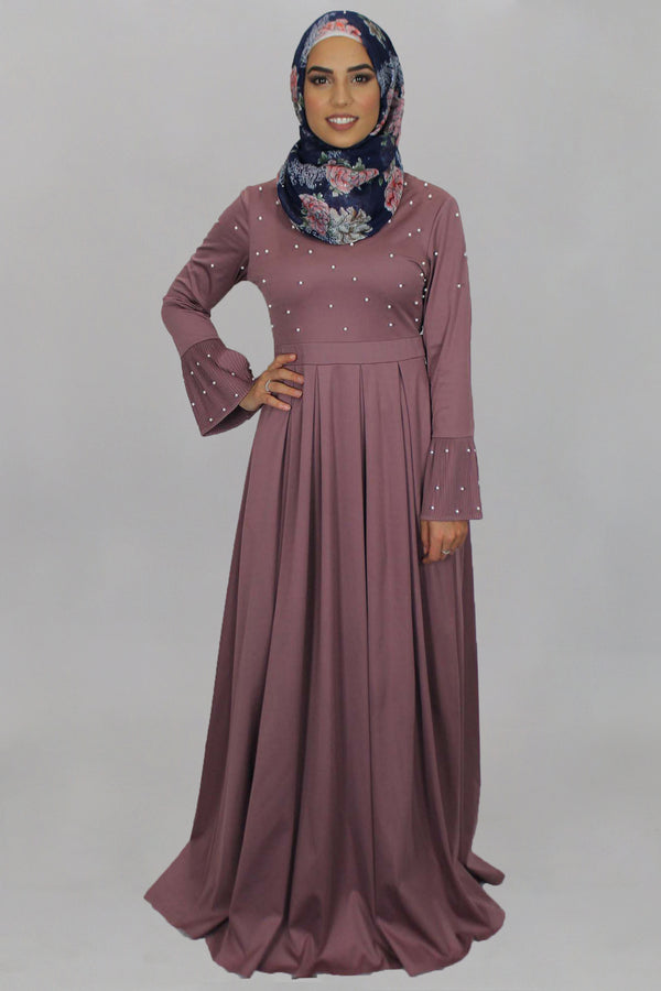 Rose Pink Pearls Maxi Dress (1395908509753)