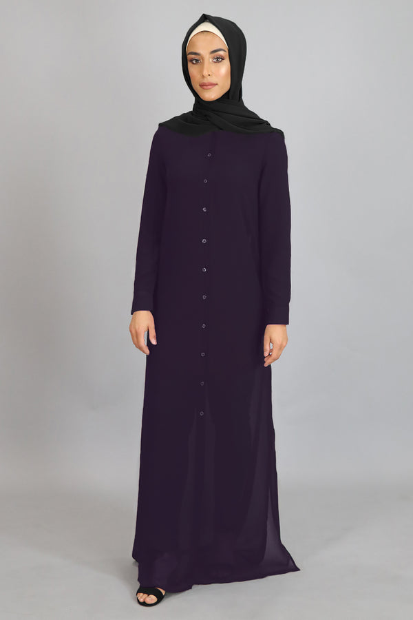 Eggplant Purple Chiffon Abaya Buttoned-Down Cardigan Dress (8307218627)